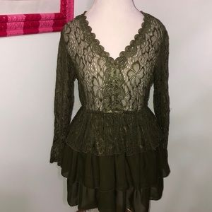 Lily Sheer Lace top chiffon layered tunic length L